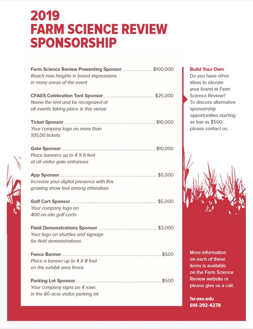 2019 Farm Science Review Sponsorship
